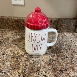 Rae Dunn Snow Day Christmas mug with red toque topper